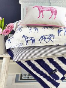 Joules Moss stitch stripe blanket 140x200 navy