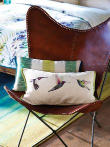 Harlequin Paradise embroidered cushion 50x30cm lago
