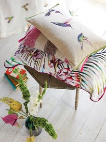 Paradise embroidered cushion 50x30cm flamingo