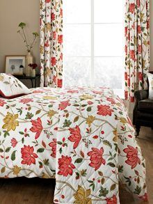 Sanderson Pondicherry lined curtains 66x72 in red