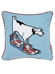 Sanderson Little Sanderson Dogs in clogs cushion blue