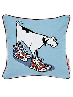 Little Sanderson Dogs in clogs cushion blue