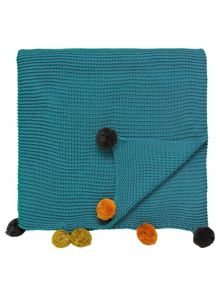 Taimi pom-Pom throw 150x200cm teal