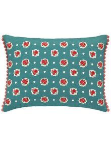 Julie Dodsworth Chicks in the eaves cushion 30x50cm aqua