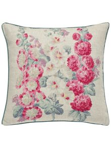 Sanderson Hollyhocks cushion 40x40cm multi-coloured