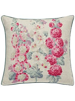 Hollyhocks cushion 40x40cm multi-coloured