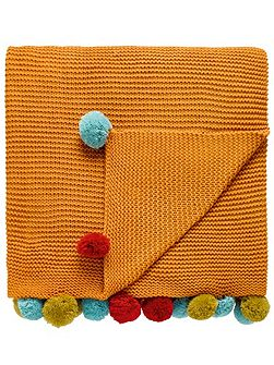 Anneke pom-pom throw 150x200cm honey