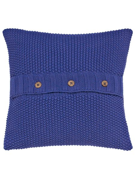 Joules Moss stitch cushion 40x40cm deep blue