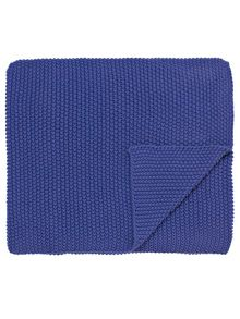 Joules Moss stitch throw 140 x 200cm deep blue