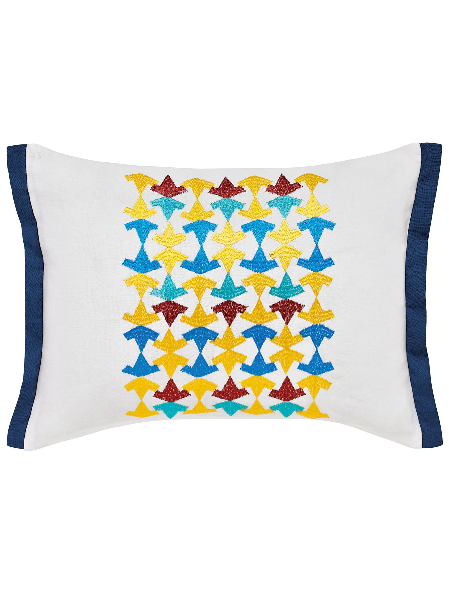 Image of V&A Alhambra cushion 30x40cm white & navy