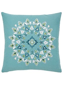 Parvani embroidered cushion 45X45cm teal