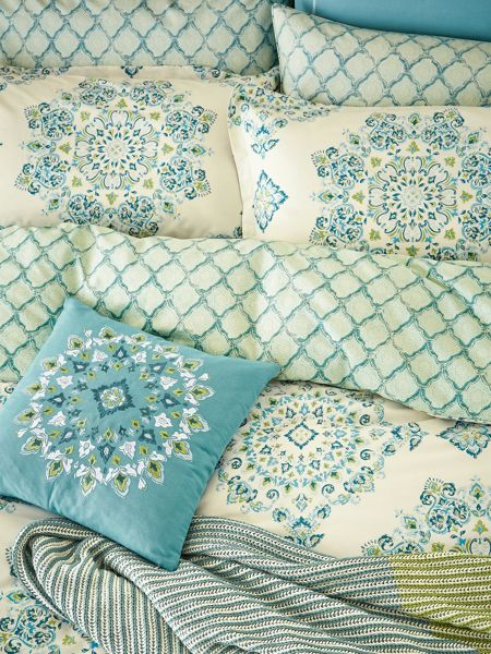 Echo Parvani embroidered cushion 45X45cm teal