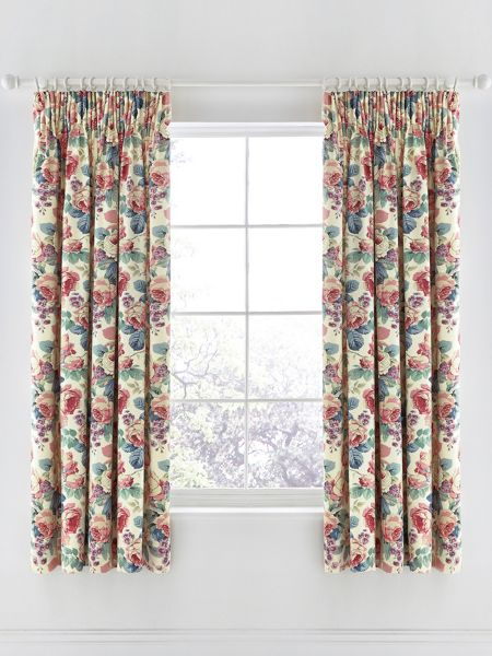 Sanderson Chelsea lined curtains 66X72 Indigo/Berry
