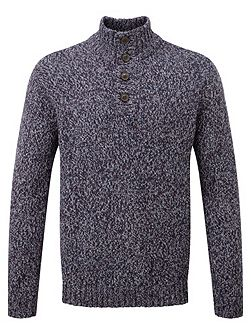 Zak Mens Knit Button Neck Jumper