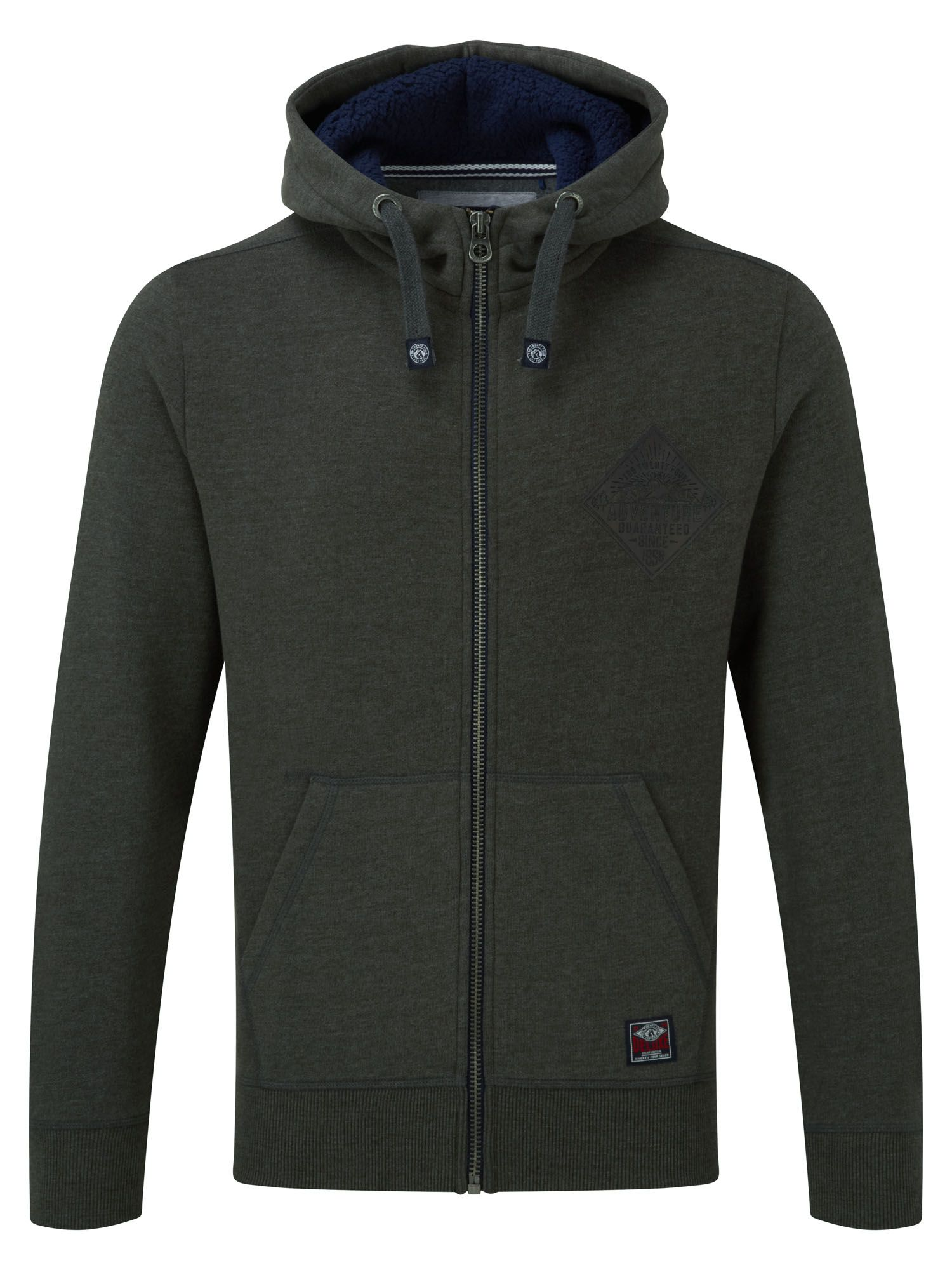 Men's Tog 24 Bodmin Mens Zip Hoodie Guarantee Logo, Dark Grey Marl