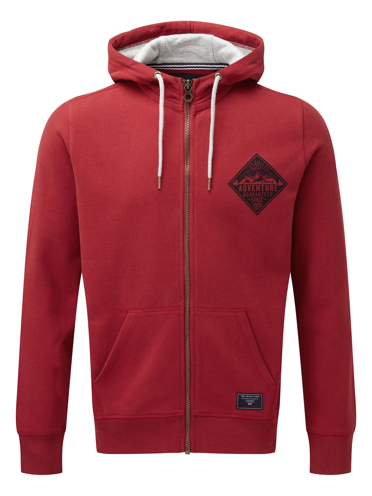 Men's Tog 24 Stewart Mens Deluxe Hoodie Guarantee Print, Chilli