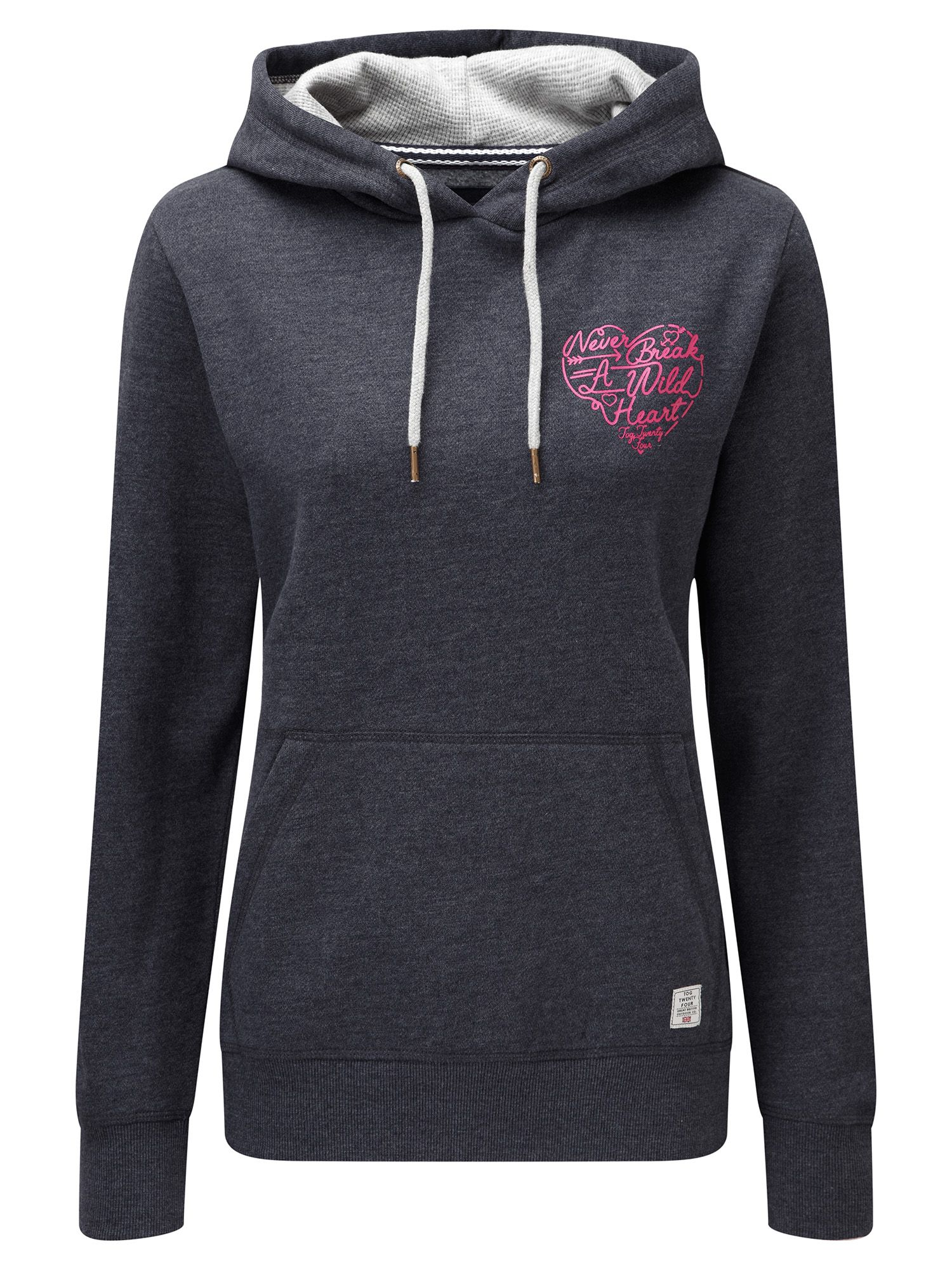 Tog 24 Amy Womens Deluxe Hoodie Heart Print, Blue