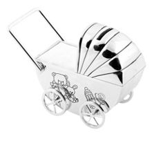 Bambino S/plated money box - Pram