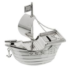 Bambino S/plated money box - pirate ship