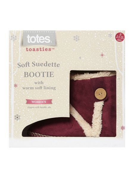 Totes Suedette Boot With Tab Button Detail