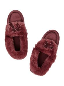 Totes Suedette Moccasin With Faux Fur Cuff