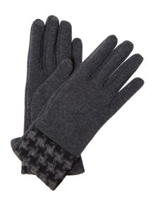 Smart Touch Dogtooth Cuff Detail Thermal Gloves