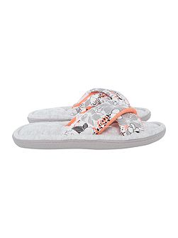 Floral double front strap floral slipper