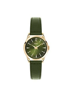 Chiswick green leather strap watch.