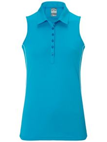 Piped sleeveless polo