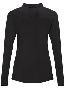 Long sleeve ribbed collar polo