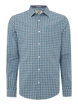 Long sleeve dobby tri colour gingham shirt
