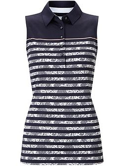 Lace Stripe Sleeveless Polo