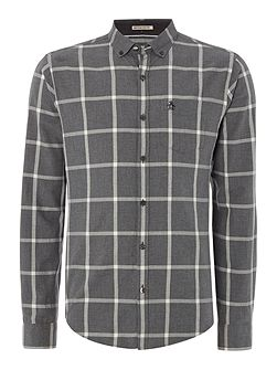 Long sleeve heathered window pane shirt