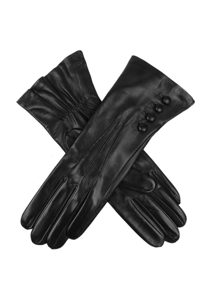 Dents Ladies silk lined button detail leather glove $70.00 AT vintagedancer.com
