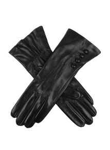 Ladies silk lined button detail leather glove