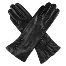 Dents Ladies silk lined button detail leather glove