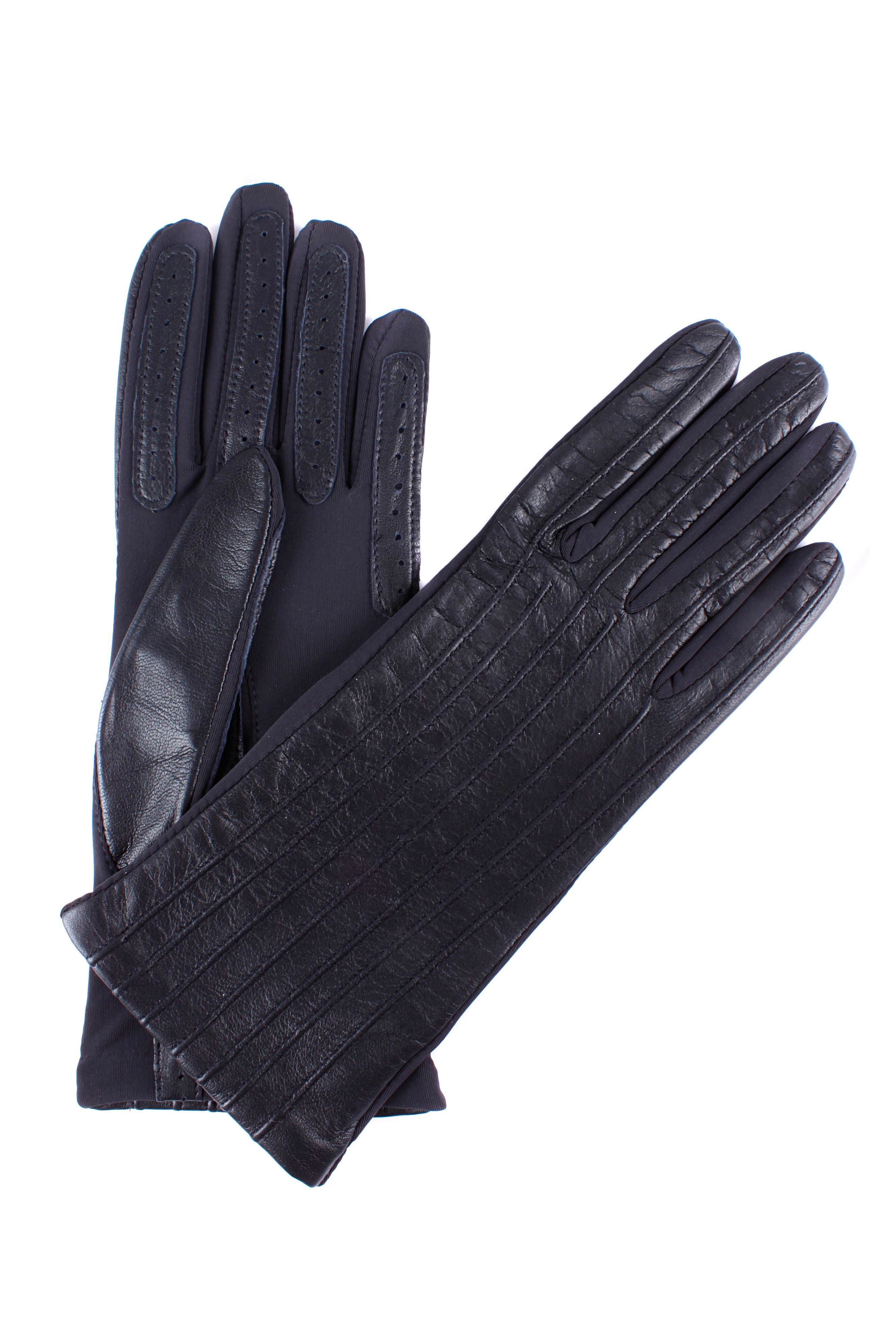 Ladies leather gloves navy - Dents Ladies Leather Stretch Gloves Navy
