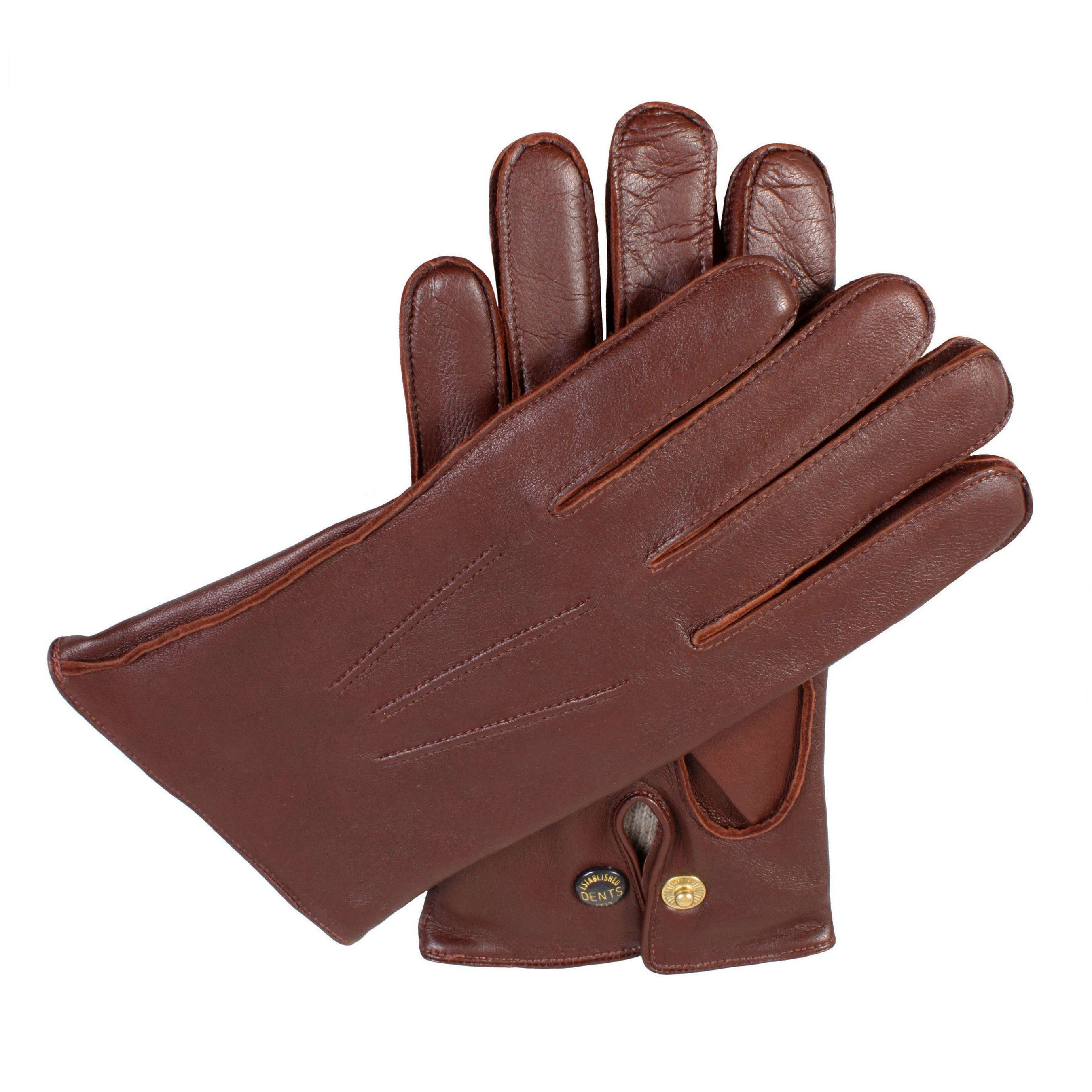 Dents Dents Mens leather gloves with wool lining, Tan