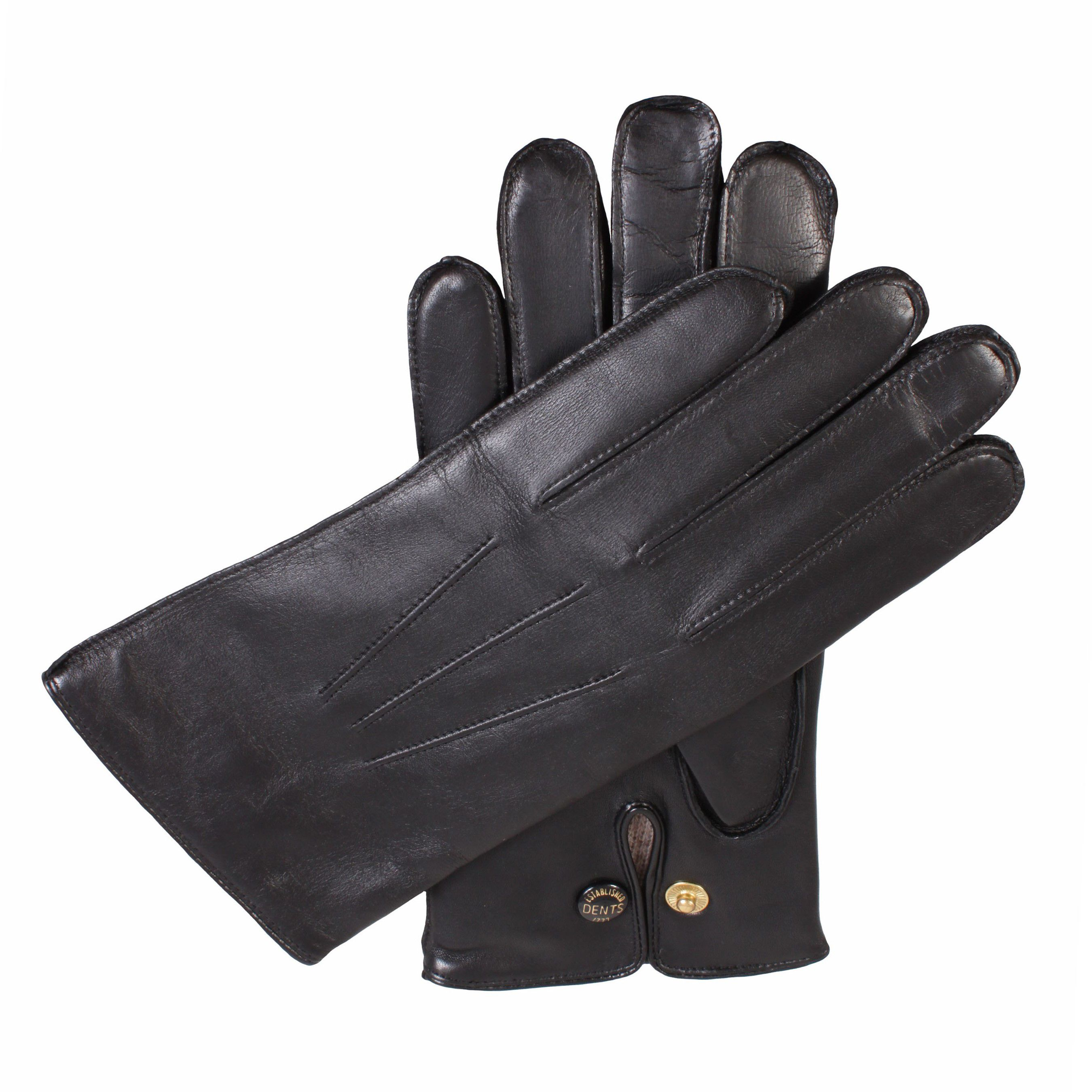 Dents Dents Mens leather gloves with wool lining, Black