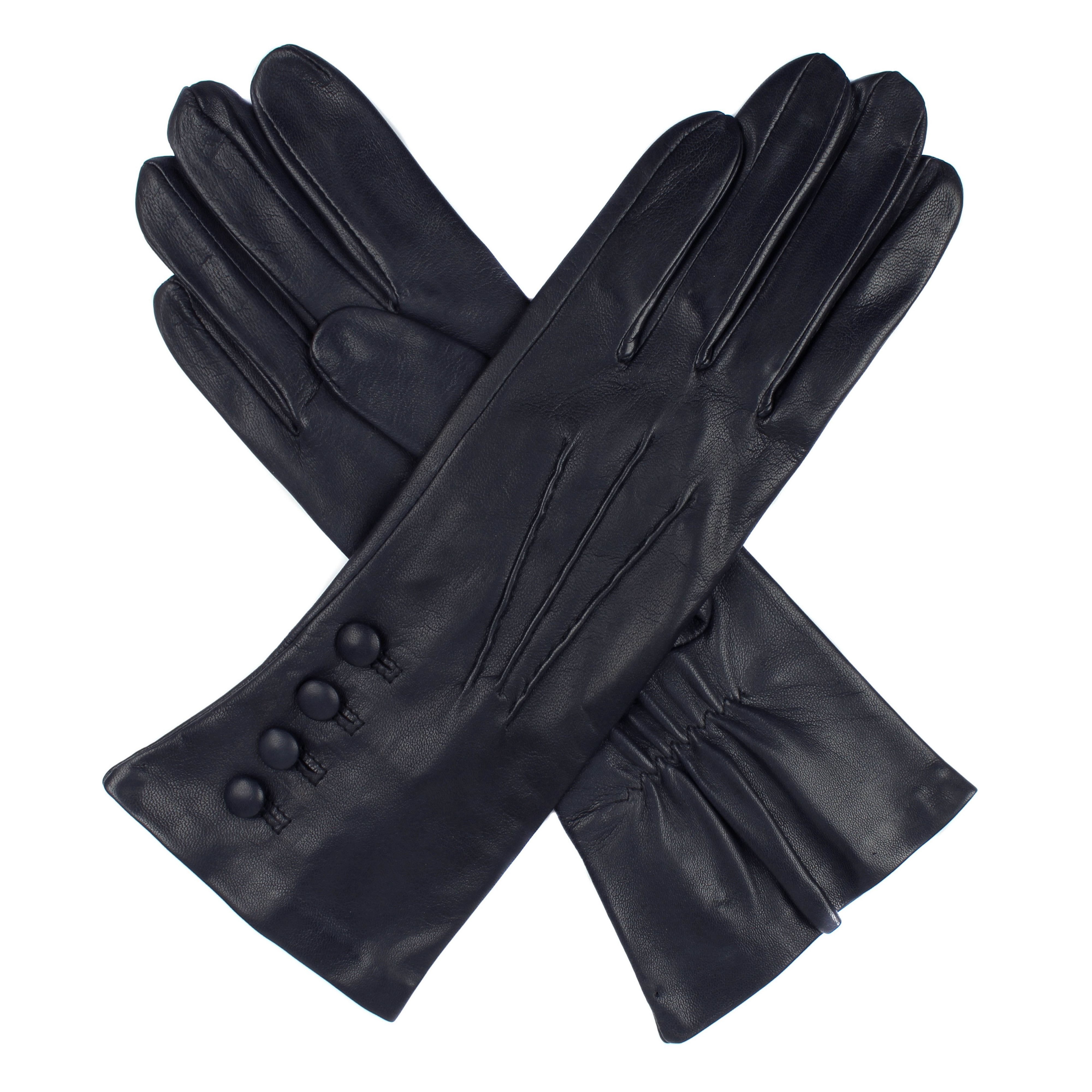 Ladies leather gloves navy - Dents Ladies Leather Gloves 4 Bl With Silk Lining Navy
