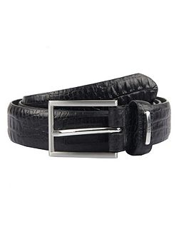 Men`s Leather Croc Print Belt