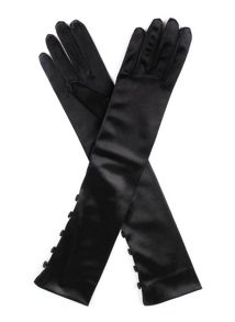 Dents Ladies mid length satin glove with button detail