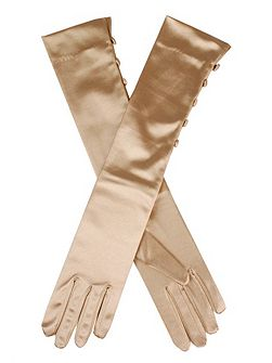 Ladies mid length satin glove with button detail