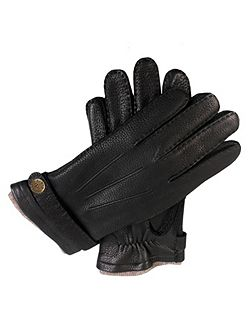 Mens deerskin glove with cashmere