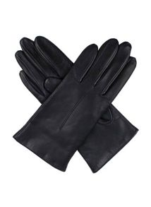 Ladies Plain Leather Gloves Lined Fleece