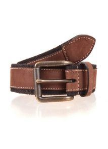 Dents Mens Webbing belt with leather trim