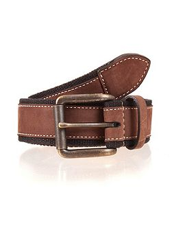 Mens Webbing belt with leather trim