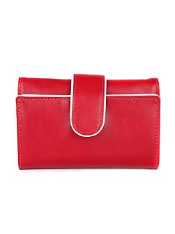 Ladies piped edge flap over tab purse