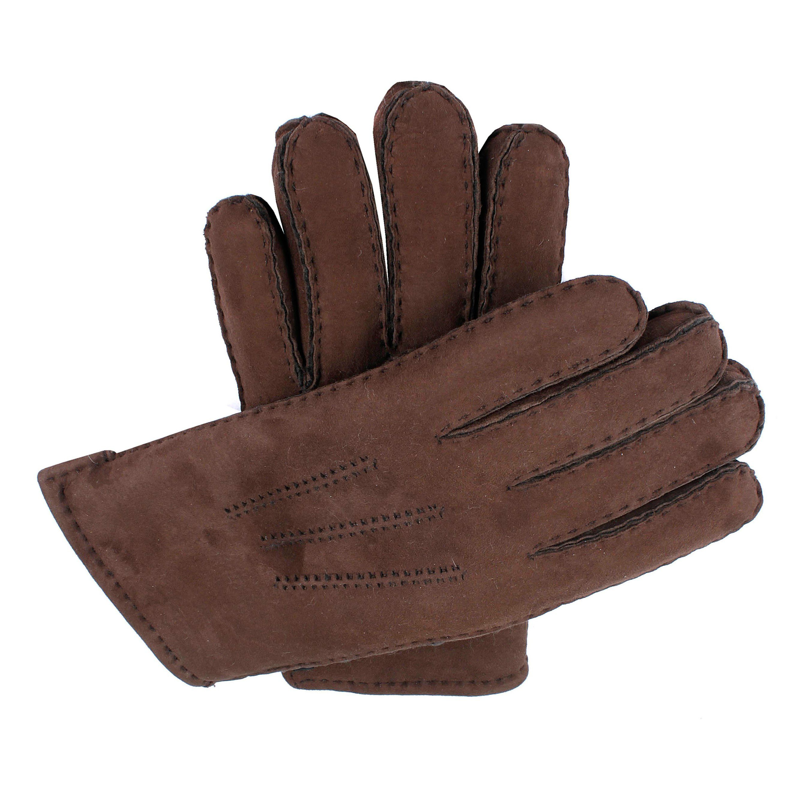 Dents Dents Mens handsewn lambskin glove, Chocolate
