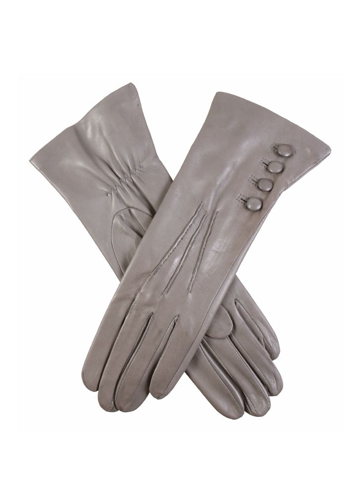 Ladies leather gloves, 4 bl,  with silk lining